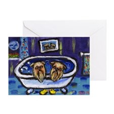 BRUSSELS GRIFFON bath Design Greeting Cards (Packa