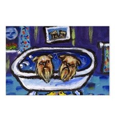 BRUSSELS GRIFFON bath Design Postcards (Package of