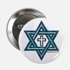 "Star Of David & Cross 2.25"" Button (100 pack)"