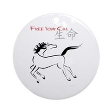 Free Your Chi Horse Ornament (Round)