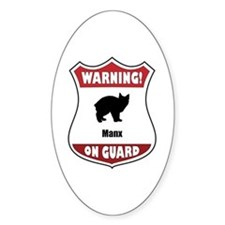 Manx On Guard Oval Decal