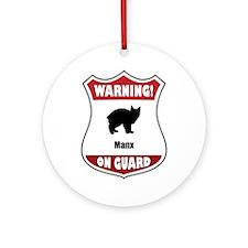Manx On Guard Ornament (Round)