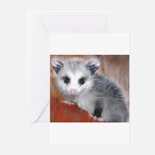 opossum on a lo Greeting Cards