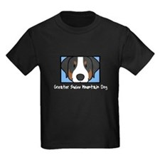 Anime Greater Swiss Mountain Dog Kids Black Tee