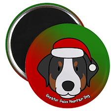 Cartoon Greater Swiss Mtn Dog Christmas Magnet