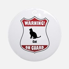 Cat On Guard Ornament (Round)