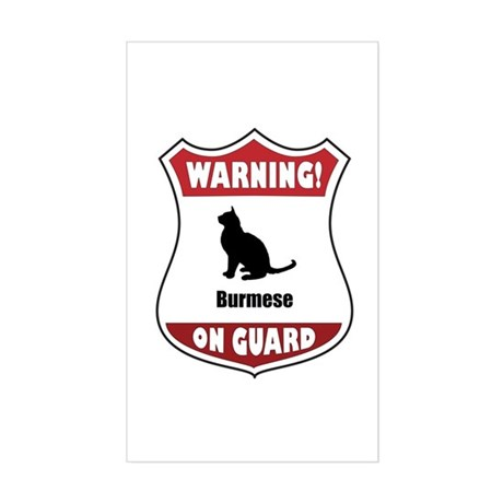 Burmese On Guard Rectangle Sticker