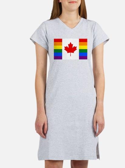 Canada Rainbow Flag Women's Nightshirt