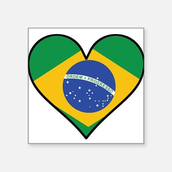 Brazilian Flag Heart Sticker