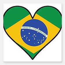 "Brazilian Flag Heart Square Car Magnet 3"" x 3"""