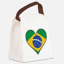 Brazilian Flag Heart Canvas Lunch Bag