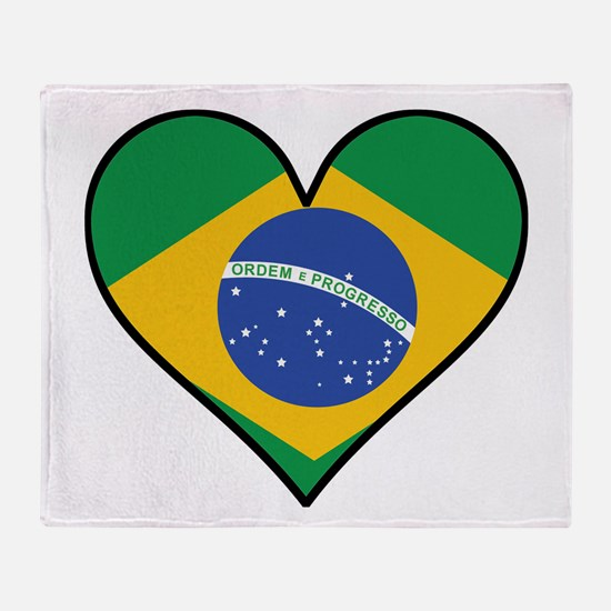 Brazilian Flag Heart Throw Blanket