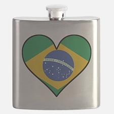 Brazilian Flag Heart Flask