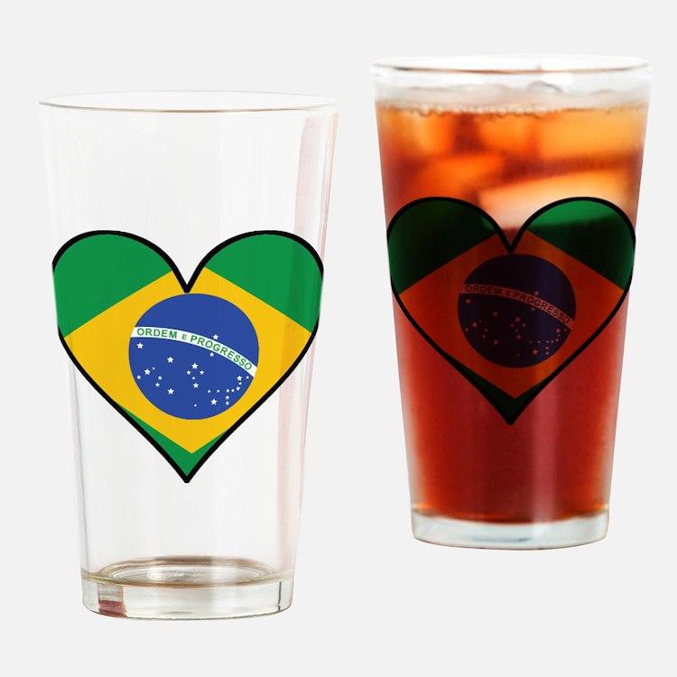 Brazilian Flag Heart Drinking Glass
