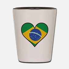 Brazilian Flag Heart Shot Glass