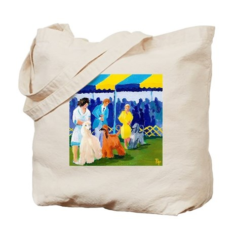 Afghan Hounds in the ring Tote Bag