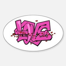 Graffiti Love Oval Decal