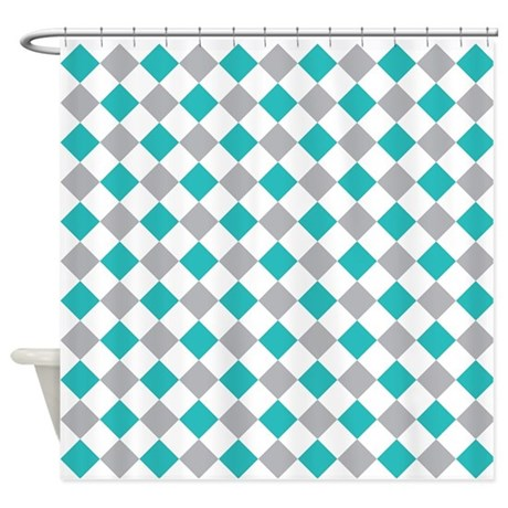 Teal And Gray Shower Curtain By Decorativedecor