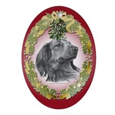 Long-Haired Dachshund Christmas Oval Ornament
