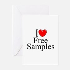 """""""I Love Free Samples"""" Greeting Cards (Pk of 10)"""