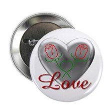 """Love Heart (Sterling) 2.25"""" Button (10 pack)"""
