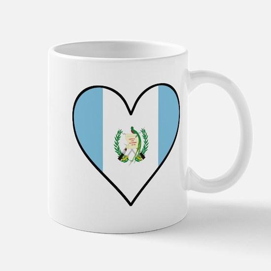 Guatemalan Flag Heart Mugs