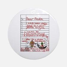 Geek Gamer Santa List Ornament (Round)