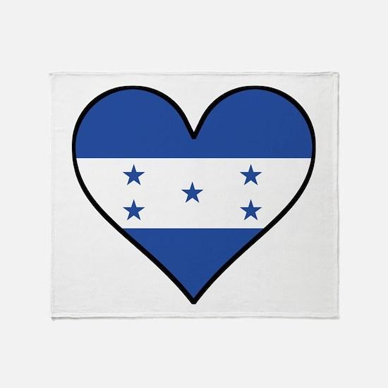 Honduran Flag Heart Throw Blanket