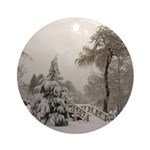 Winter Landscape Photo Ornament (Round)