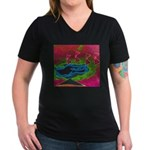 Quadtopia Sunrise Women's V-Neck Dark T-Shirt