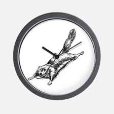 Flying Squirrel Illustration  Wall Clock