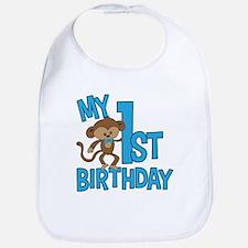 My First Birthday Blue Bib