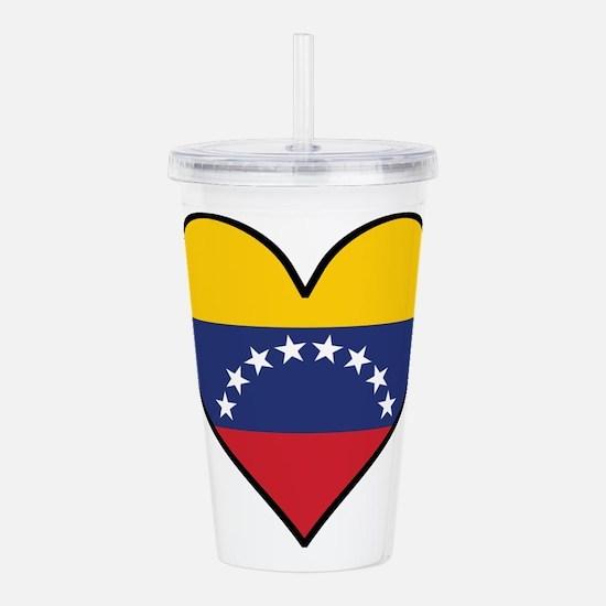 Venezuelan Flag Heart Acrylic Double-wall Tumbler