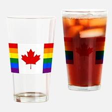 Canada Pride Rainbow Flag Drinking Glass