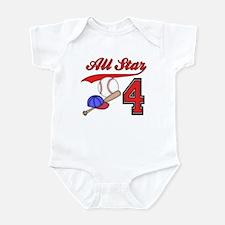 AllStar Baseball 4th Birthday Infant Bodysuit