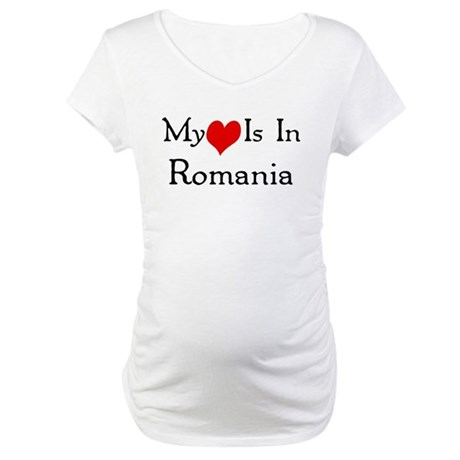 My Heart Is In Romania Maternity T-Shirt