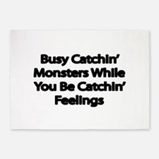 Busy catching Monsters 5'x7'Area Rug