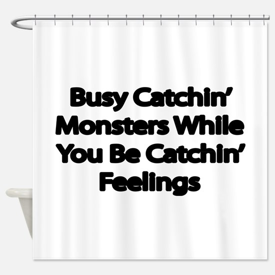 Busy catching Monsters Shower Curtain