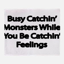 Busy catching Monsters Throw Blanket
