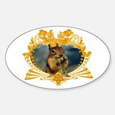 Squirrel Lover Art Crest Oval Decal