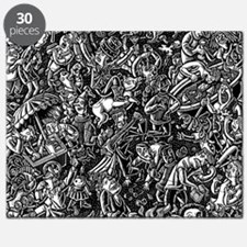 Black and White Wild Party Scene Puzzle