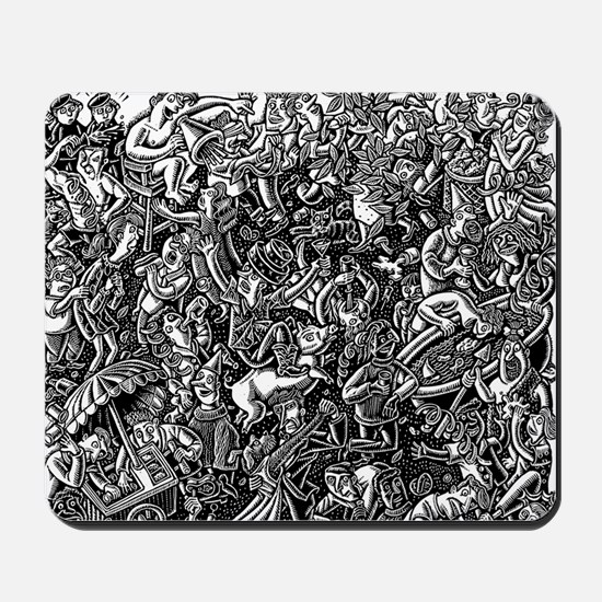 Black and White Wild Party Scene Mousepad
