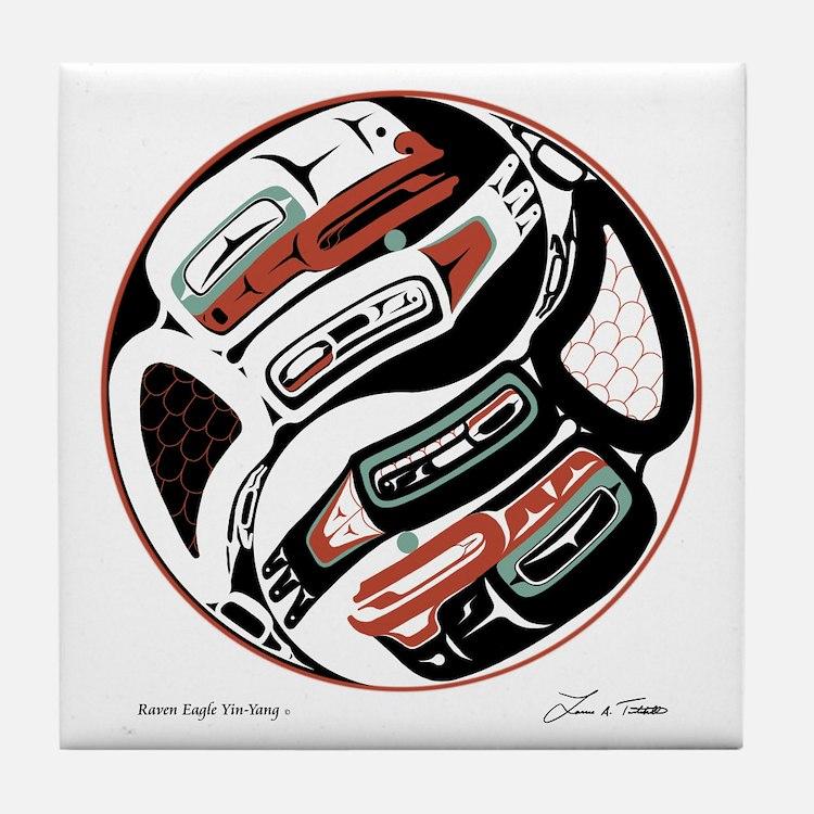 Eagle Raven Yin-Yang Tile Coaster