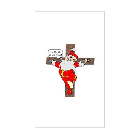 Santa on a crucifix Rectangle Sticker