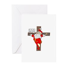 Santa on a crucifix Greeting Cards (Pk of 20)