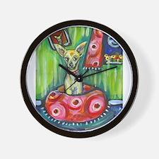 Chihuahua senses smiling moon Wall Clock