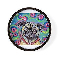 adorable pug bubbles Wall Clock