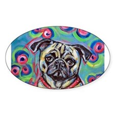 adorable pug bubbles Oval Decal