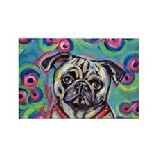 adorable pug bubbles Rectangle Magnet