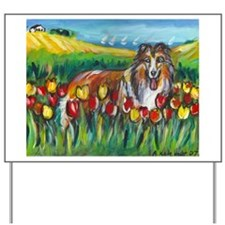 collie tulip town Yard Sign
